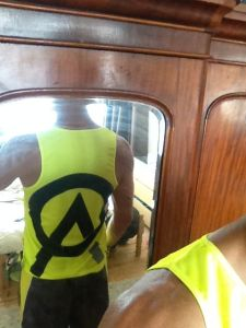 "Shame I won't be allowed to compete in my new ""sponsor's"" vest"