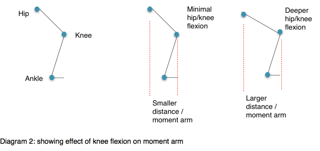 Diagram 2: showing effect of knee flexion on moment arm
